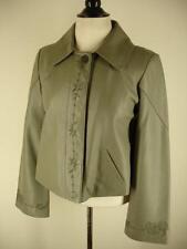 womens S Anne Klein gray leather embroidered jacket blazer coat hidden buttons