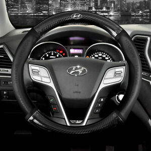"""15"""" Car Steering Wheel Cover Genuine Leather For Hyundai New"""