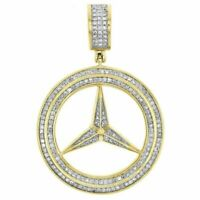 Men's 10K Yellow Gold Over 1.50 Ct Round Cut Diamond Pave Mercedes Charm Pendant