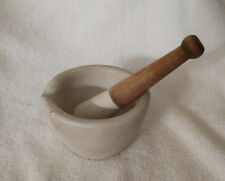 """Vintage 4 3/8"""" Coors Porcelain Mortar and 6"""" long Pestal with Wood Handle 531-Q"""