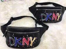 💯 DKNY Tilly Paint Designer Logo Women's Belt Bag Colorful Black / Silver $128