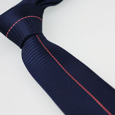 Coachella Ties Navy Blue with Coral Pink Vertical Striped Necktie SKINNY Tie 6cm