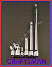 CRAFTSMAN 6pc 1/4 3/8 ratchet wrench WOBBLE socket extension universal flex set