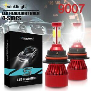Pair 9007 HB5 4-Side LED 6000K Headlight Bulb High Low Dual Beam 180W 32000LM