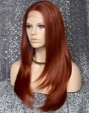 Silky Straight Full Lace Front Wig Copper Red Layered sides Heat Safe 130 WBDA
