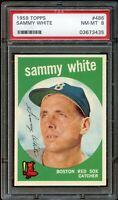 1959 Topps BB Card #486 Sammy White Boston Red Sox PSA NM-MT 8 !!