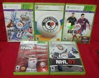 Ping Pong, NBA, NHL Hockey FIFA Soccer Madden Football XBOX 360 5 game Bundle