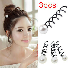 3PCS Pearl Black Spiral Spin Screw Bobby Pin Hair Clips Lady Twist Barrette_TI