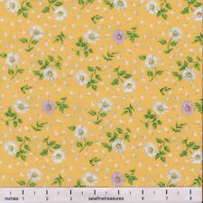 Flower of the Month April DAISY on YELLOW Northcott Fabric By the FQ - 1/4 YD