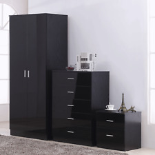 High Gloss Bedroom Furniture Set 2 Door Wardrobe Tallboy Chest Bedside Black