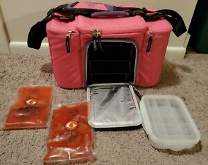 6 pack fitness innovator 300 bag Pink with Container and Cold Packs