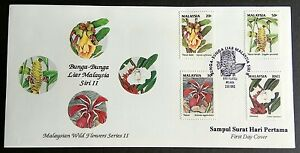 Malaysia 1993 Wild Flower 2nd Series 4v Stamps FDC (Melaka) Minor Toned Lot B