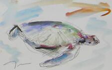 JOSE TRUJILLO ORIGINAL Watercolor Painting IMPRESSIONISM Sea Turtle Marine Decor