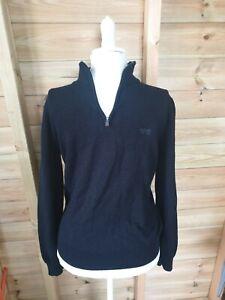 Men's Hugo Boss Lambswool Pullover Jumper In Black Size M With Zip Up Neck