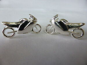 sterling silver racing motorbike swivel cufflinks uk made