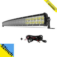 52inch Curved LED Light Bar Combo SPOT FLOOD Truck ATV Offroad + FREE Wiring 54""
