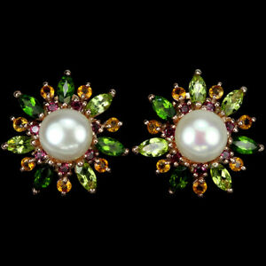 REAL PEARL PERIDOT CITRINE RHODOLITE CHROME DIOPSIDE STERLING 925 SILVER EARRING