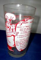 Vintage 1960s French Crepes Suzettes Recipe Pint Glass 1/2 Litre Retro Chef Bar
