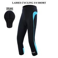 Women Cycling 3/4 Shorts Padded Ladies Leggings Cool Max Anti Bac Pad