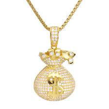 "Men's Iced Gold Tone CZ Money Bag Pendant 24"" Box Chain Necklace BSH 13130 G"