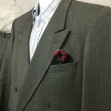 Vtg YVES SAINT LAURENT Wool Double Breasted Suit Gray Sz 44S 34 x 28 Pleated