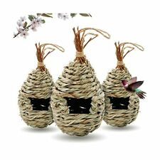 Hummingbird Houses 3 Pcs Tightly Woven Cage Hanging Hut Drop-Shaped Shelter Safe