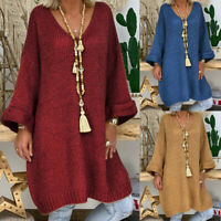❤️ Women's Knitted Loose V Neck Sweater Jumper Dress Winter Pullover Long Tops