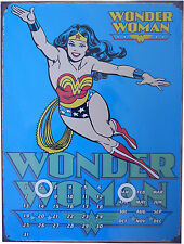 WONDER WOMAN BLUE DC COMIC HERO METAL CALENDER 30cm x 40cm DECORATIVE ITEM