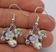 925 Silver Plated Hook- 1.5'' Bird Flower Rainbow Waterdrop Crystal Earrings #17