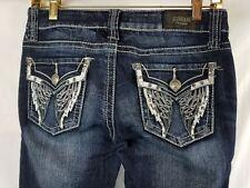 ZCO Premium Flare Blue Denim Junior's Jean Angel Wings on Pockets Size 3