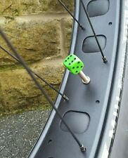 2 x Dice Dust Caps PRESTA VALVE FITMENT bike,  Many Colours available