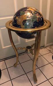Vintage Large Gemstone World Globe Sea Brass Stand & Compass