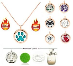 Fashion 25MM rose gold Essential Oil Aroma Diffuser Locket Pendant Necklace