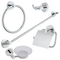 Chrome Modern 5 Pc. Bath Accessories Towel Bar Ring Toilet Bathroom Hardware Set