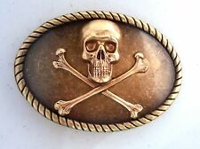 Handmade Bronze Skull And Crossbones Belt Buckle