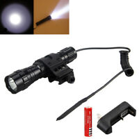 5000lm T6 LED Tactical Flashlight Torch Hunting Picatinny Mount Gun 18650