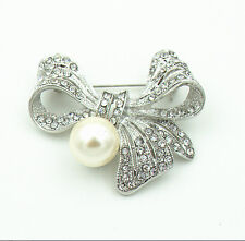 Silver Ivory White Pearl Bow Knot Prom Bridal Wedding Corsage Brooch Pin BR265