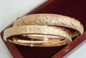 TWO LOVELY ANTIQUE 12K/18K, 14K &  ROSE & YELLOW GOLD GF SIGNED BANGLE BRACELETS