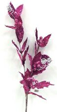 """Holly Spray Stem w/Leaves. 28"""" Tall. Hot Pink. Glitter,Beaded. Artificial"""