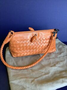 Bottega Veneta Mini Orange Leather Woven Bag With Certificate & Bag