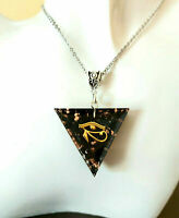 Orgone Orgonite Eye of Horus pendant, 24K Gold, Black Tourmaline, Shungite,
