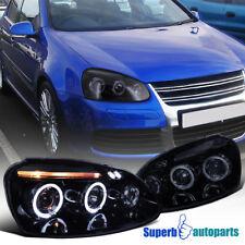For 06-08 Golf/Jetta/Rabbit Smoke LED Halo Projector Headlights Glossy Black Set