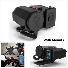 Motorcycle Cigarette Lighter Dual USB Charger Power Socket With Mounts & Switch