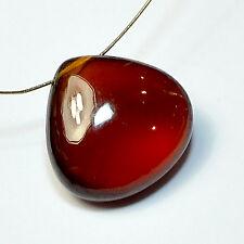 14.5mm Madagascar Hessonite Garnet Smooth Heart Briolette Bead