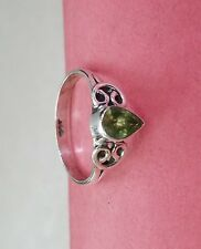 Green Peridot Gemstone Ring Handmade Drop Shape Ring 925 silver Ring 4X3mm