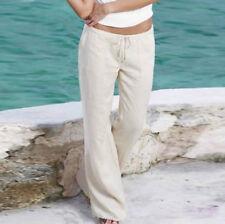 Women Spring Summer Linen Trousers Pants Leisure Holiday Beach Chino Khaki Cargo