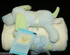 Blankets and Beyond Cream Baby Blanket Blue Green Puppy Dog Toy Plush NEW
