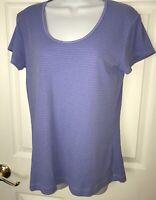 FRESH PRODUCE Periwinkle Blue Scoop Neck Knit Top S/S Sz LARGE EUC