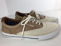 Hilfiger Two Tone Tan Boat Shoes MEN'S 9.5. Canvas / Leather, Preowned. Clean