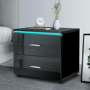Modern RGB LED Nightstand with 2 Drawers Glossy Bedside End Tables Dresser WOODY